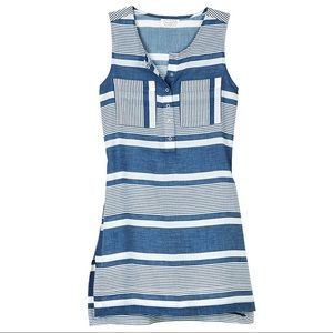 Mud Pie August Cover Up Chambray Blue Stripe Navy
